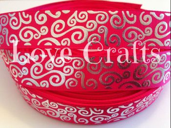 "1 metre - 7/8"" Hot Pink with Silver Swirls  Grosgrain Ribbon"