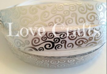 "1 metre - 7/8"" White with Silver Swirls  Grosgrain Ribbon"