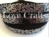 "1 metre - 7/8"" Black with Silver Swirls  Grosgrain Ribbon"