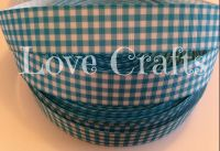 "1 metre - 7/8"" Blue Check Grosgrain Ribbon"