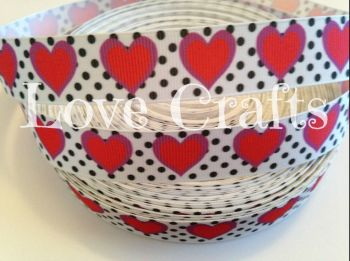"1 metre - 7/8"" Red Hearts on Black Dots Grosgrain Ribbon"