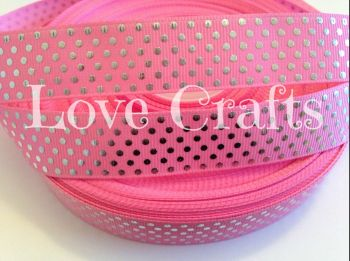 "1 metre - 7/8"" Light Pink with Silver Dots Grosgrain Ribbon"