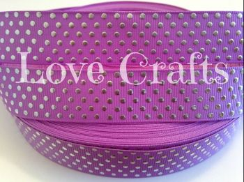 "1 metre - 7/8"" Lilac with Silver Dots Grosgrain Ribbon"