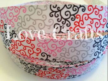 "1 metre - 7/8"" Coloured Swirls on White Grosgrain Ribbon"