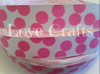 "1 metre - 7/8"" Pink Glitter Dots on White Grosgrain Ribbon"