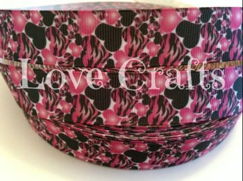 "1 metre - 7/8"" Black & Light Pink Hearts Grosgrain Ribbon"