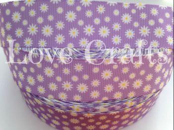 "1 metre - 1"" Daisies on Lilac Grosgrain Ribbon"