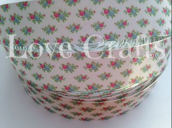 "1 metre - 1"" Pink & Blue Roses on White Grosgrain Ribbon"