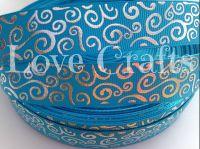 """1 metre - 7/8"""" Blue with Silver Swirls  Grosgrain Ribbon"""