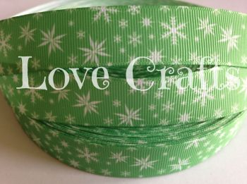 "1 metre - 7/8"" Green Snowflake Grosgrain Ribbon"