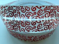 """1 metre - 7/8"""" White with Red Silver Swirls  Grosgrain Ribbon"""