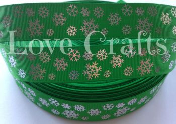 "1 metre - 7/8"" Green with Silver Snowflakes Grosgrain Ribbon"