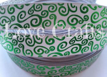 "1 metre - 7/8"" Silver with Green Silver Swirls  Grosgrain Ribbon"