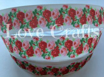 """1 metre - 1"""" Pink & Red Roses Grosgrain Ribbon"""