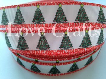 "1 metre - 7/8"" Green Trees with Red Edging Grosgrain Ribbon"