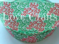 "1 metre - 7/8"" Green & Red Swirls Grosgrain Ribbon"