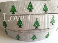 "1 metre - 7/8"" Green Trees on Silver Grosgrain Ribbon"