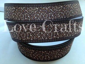 "1 metre - 7/8"" Leopard Brown Edge Grosgrain Ribbon"