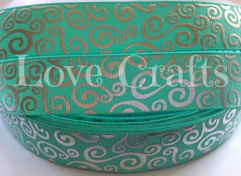 "1 metre - 7/8"" Turquoise with Silver Swirls Grosgrain Ribbon"