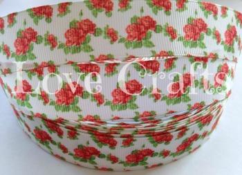 """1 metre - 1"""" Red Roses on White Grosgrain Ribbon"""