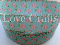 "1 metre - 1"" Light Pink Roses on Turquoise Grosgrain Ribbon"