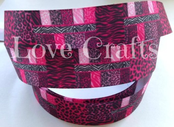 "1 metre - 1"" Pink Block Pattern Grosgrain Ribbon"