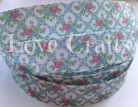 "1 metre - 1"" Pink & Blue Roses on Blue Grosgrain Ribbon"