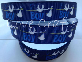 "1 metre - 7/8"" It's A Boy! Grosgrain Ribbon"