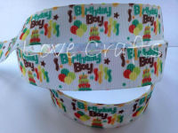 "1 metre - 1"" Birthday Boy Grosgrain Ribbon"