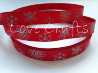 "1 metre - 3/8"" Silver Snowflakes on Red Christmas Grosgrain Ribbon"