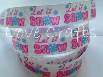 "1 metre - 7/8"" Let It Snow Grosgrain Ribbon"