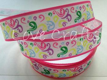 "1 metre - 7/8"" Pink Edge Colourful Swirls Grosgrain Ribbon"