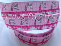"1 metre - 7/8"" It's A Girl Grosgrain Ribbon"