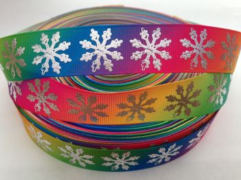 "1 metre - 1"" Rainbow with Silver Snowflakes Grosgrain Ribbon"