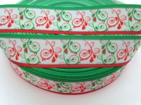 """1 metre - 7/8"""" Red & Green Swirls with Red/Green Edge Grosgrain Ribbon"""