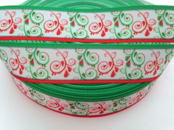 "1 metre - 7/8"" Red & Green Swirls with Red/Green Edge Grosgrain Ribbon"