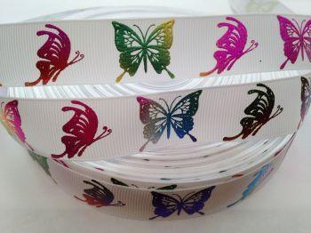 "1 metre - 7/8"" Colourful Silver Butterflies on White Grosgrain Ribbon"