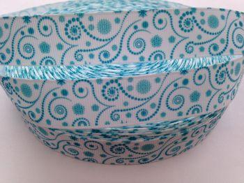 "1 metre - 7/8"" Turquoise Swirls on White Grosgrain Ribbon"