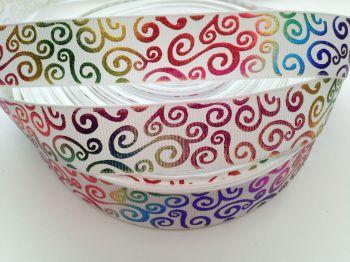 "1 metre - 7/8"" Colourful Silver Swirls on White Grosgrain Ribbon"
