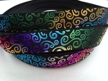 "1 metre - 7/8"" Colourful Silver Swirls on Black Grosgrain Ribbon"