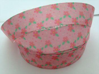 "1 metre - 7/8"" Pink Flowers on Light Pink Grosgrain Ribbon"