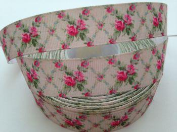 "1 metre - 7/8"" Pink Flowers on Cream Grosgrain Ribbon"