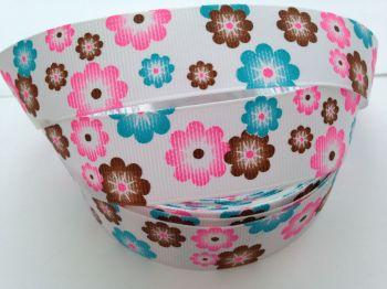 """1 metre - 7/8"""" Pink, Blue & Brown Flowers Grosgrain Ribbon"""