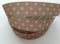 "1 metre - 7/8"" Pink Flowers on Brown Grosgrain Ribbon"