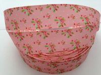 """1 metre - 7/8"""" Pink Flowers on Pink Grosgrain Ribbon"""