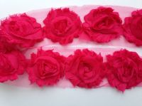 "2.5"" Hot Pink Shabby Flowers"