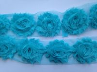 "2.5"" Light Turquoise Shabby Flowers"