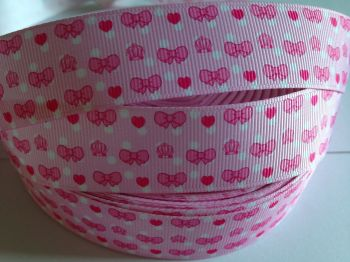 "1 metre - 1"" Pink Bows & Hearts Grosgrain Ribbon"