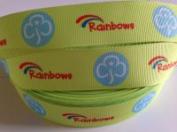 "1 metre - 1"" Yellow Rainbows Grosgrain Ribbon"