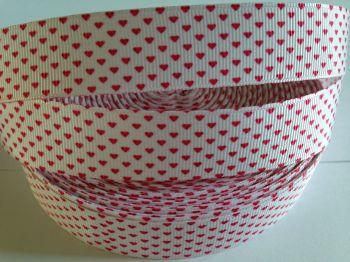 "1 metre - 7/8"" Red Hearts on White Grosgrain Ribbon"